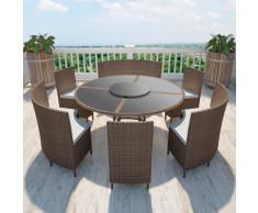 vidaXL Set da giardino tavolo rotondo e sedie polirattan marrone 12 persone