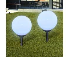 vidaXL Lampione solare a LED da giardino 30cm 2pz con picchetto