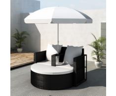 vidaXL Set lounge da giardino in polirattan con parasole esterno nero