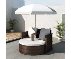 vidaXL Set lounge da giardino in polirattan con parasole esterno marrone