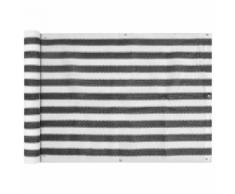 vidaXL Paravento da Balcone HDPE 75x400 cm Antracite e Bianco