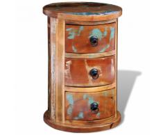 vidaXL Armadietto in legno anticato massello rotondo con 3 cassetti