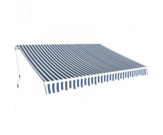 vidaXL Tenda da Sole Pieghevole Manualmente 3,5x2,5 m Blu e Bianca