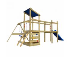 vidaXL Casetta in legno con scala, scivolo, altalene 463x275x235 cm