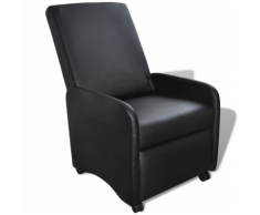 vidaXL Poltrona pieghevole reclinabile in pelle artificiale nera