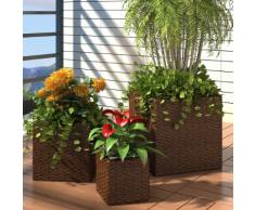 vidaXL Set 3 fioriere quadrate da giardino in rattan marrone