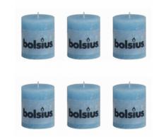Bolsius Candela Pilastro Rustica 80 x 68 mm Blu Acqua 6 pezzi