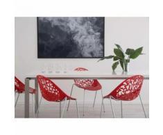 Beliani Moderna sedia da pranzo in metallo e plastica rossa - MUMFORD