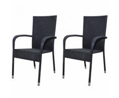 vidaXL Set Sedie da Pranzo per Giardino 2 Pz in Polirattan Nero