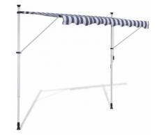 vidaXL Tenda da Sole a Scomparsa 400 cm ad Azionamento Manuale Blu/Bianco