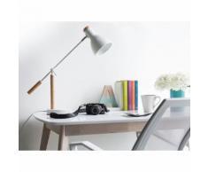 Beliani Lampada da tavolo regolabile in legno colore bianco - PECKOS