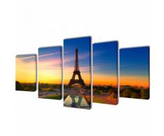 vidaXL 5 pz Set Stampa su Tela da Muro La Torre Eiffel 200 x 100 cm