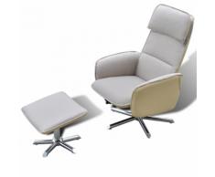 vidaXL TV di Casa Poltrona reclinabile regolabile con poggiapiedi Crema
