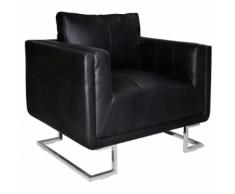 vidaXL Poltrona in cuoio nero di alta qualità con i piedi cromati