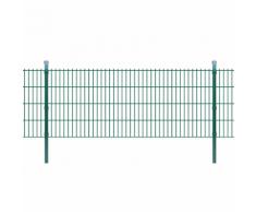 vidaXL 2D Set Pannelli recinzione giardino e pali 2008x830mm 4m verde