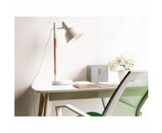 Beliani Lampada da tavolo regolabile in legno color bianco ALDAN