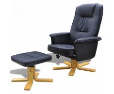 vidaXL Poltrona reclinabile di pelle artificiale con poggiapiedi Nero