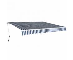 vidaXL Tenda da Sole Pieghevole Manualmente 4x3 m Blu e Bianca