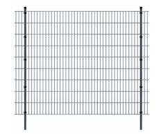 vidaXL Pannello di recinzione 2D giardino con paletti 2008x1830 mm 38m grigio