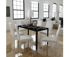 vidaXL Set 6 sedie bianche da pranzo + 1 tavolo con design contemporaneo