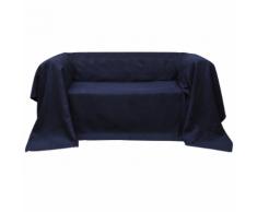 vidaXL Fodera per divano in micro-camoscio blu marino 210 x 280 cm