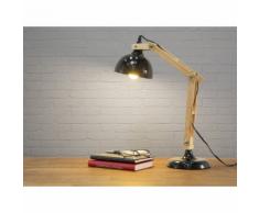 Beliani Lampada da tavolo in legno e metallo nero - SALADO