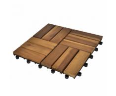 vidaXL Set 10 Piastrelle in legno di acacia per pavimento 30 x cm