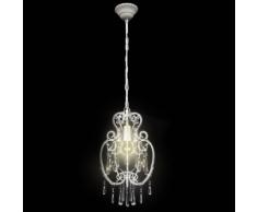vidaXL Lampada da Soffitto Bianca in Metallo con Perline di Cristallo