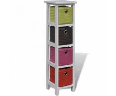 vidaXL Mobiletto contenitore in legno con scaffali e cestini multicolori