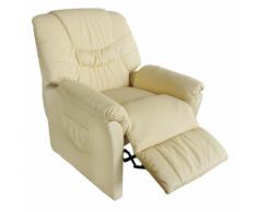 vidaXL Poltrona relax massaggio Noa, reclinabile, beige