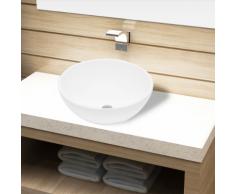 vidaXL Lavandino da bagno in ceramica bianca rotondo