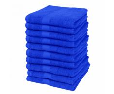 vidaXL Set 10 pz Asciugamani cottone 100% 500 gsm 30 x 50 cm blu reale