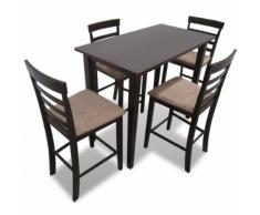 vidaXL Set Tavolo da bar in legno marrone e 4 sedie