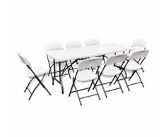 vidaXL Set pieghevole da giardino 1 tavolo e 8 sedie in HDPE Bianco 180 cm