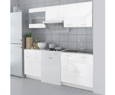 vidaXL Armadietto Cucina Lucido Bianco 5 pz 200 cm