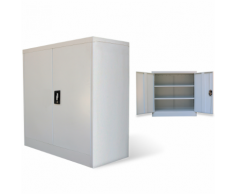 vidaXL Armadio metallico per ufficio a 2 ante 90 cm grigio