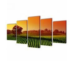 vidaXL 5 pz Set Stampa su Tela da Muro Campi 100 x 50 cm