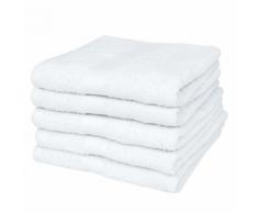 vidaXL Set 5 pz Asciugamani sauna cotone 100% 500 gsm 80 x 200 cm bianchi