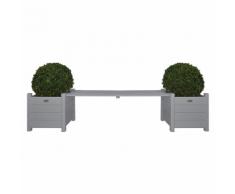 Esschert Design CF33G 2 Fioriere con panchina a ponte grigia