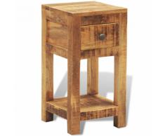 vidaXL Tavolino in legno solido comodino con 1 cassetto