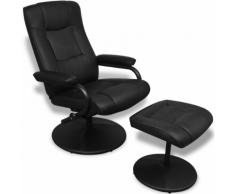 vidaXL Poltrona per TV in pelle artificiale nera con poggiapiedi