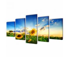 vidaXL 5 pz Set Stampa su Tela da Muro Girasole 200 x 100 cm