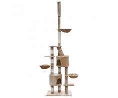 vidaXL Casina ad albero da coccole per gatto XL 230-260 cm Peluche Beige