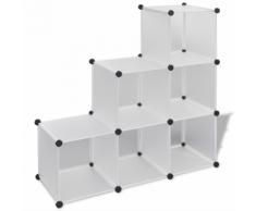 vidaXL Scaffale bianco con cubi 6 scomparti 110 x 37 cm