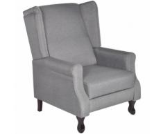 vidaXL Poltrona TV in tessuto grigio regolabile reclinabile
