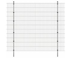 vidaXL Pannello di recinzione 2D giardino con paletti 2008x2230 mm 22m argento