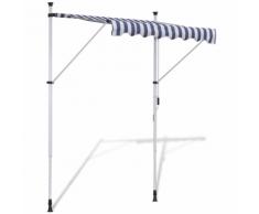 vidaXL Tenda da Sole a Scomparsa 200 cm ad Azionamento Manuale Blu/Bianco