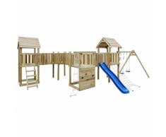vidaXL Set da gioco all'aperto con scaletta, scivolo e altalene 800x615x294 cm Legno