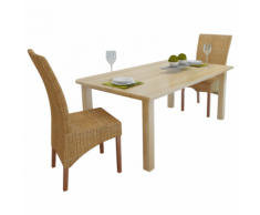 vidaXL Set 2 Sedie da tavola in tessuto di rattan