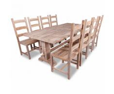 vidaXL 9 Pezzi Set Grande Tavolo e Sedie Sala da Pranzo in Teak